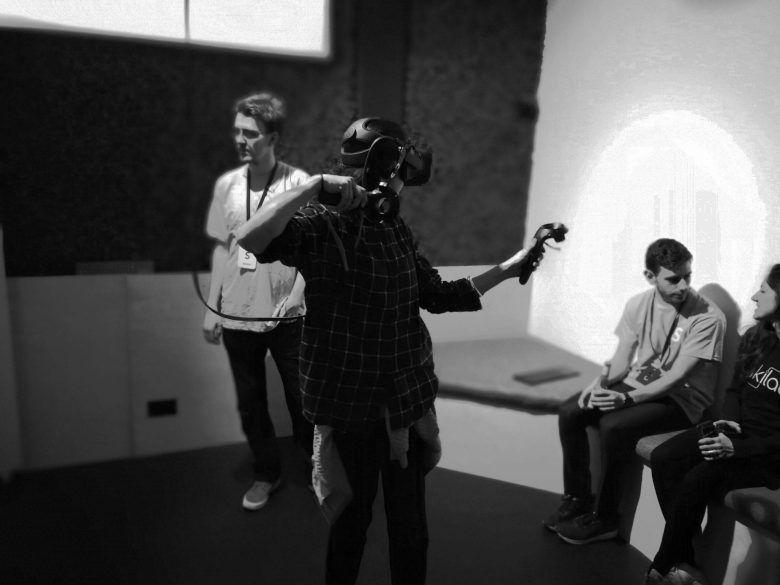 Sandbox has been helped by HTC Vive, which offers demonstrations of its innovative VR system upstairs