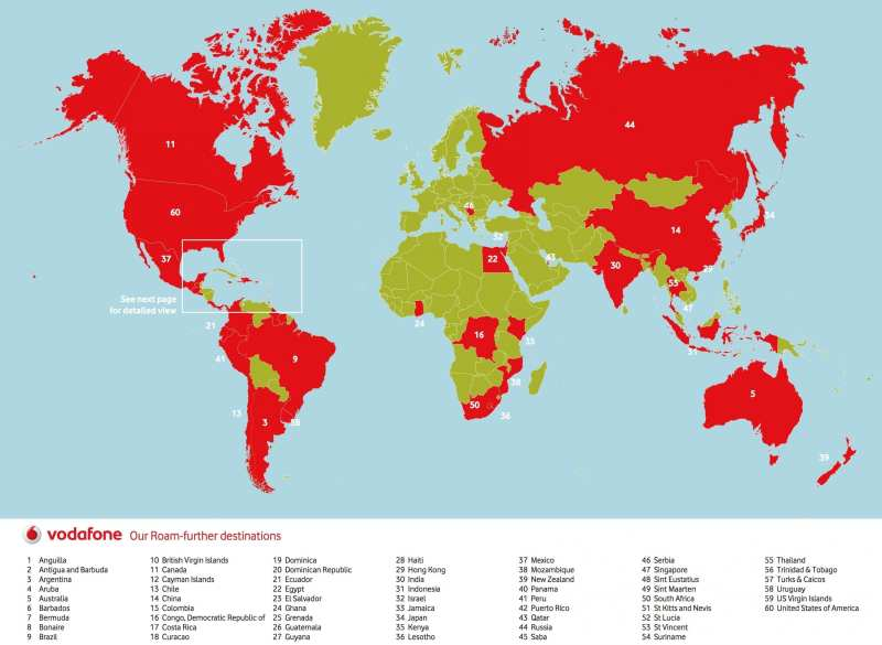 Vodafone Worldwide Roaming Destinations