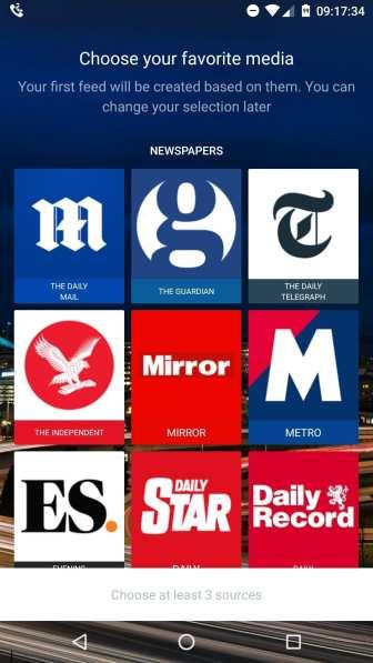 Wileyfox Zen - newsfeed when swiping right on home screen