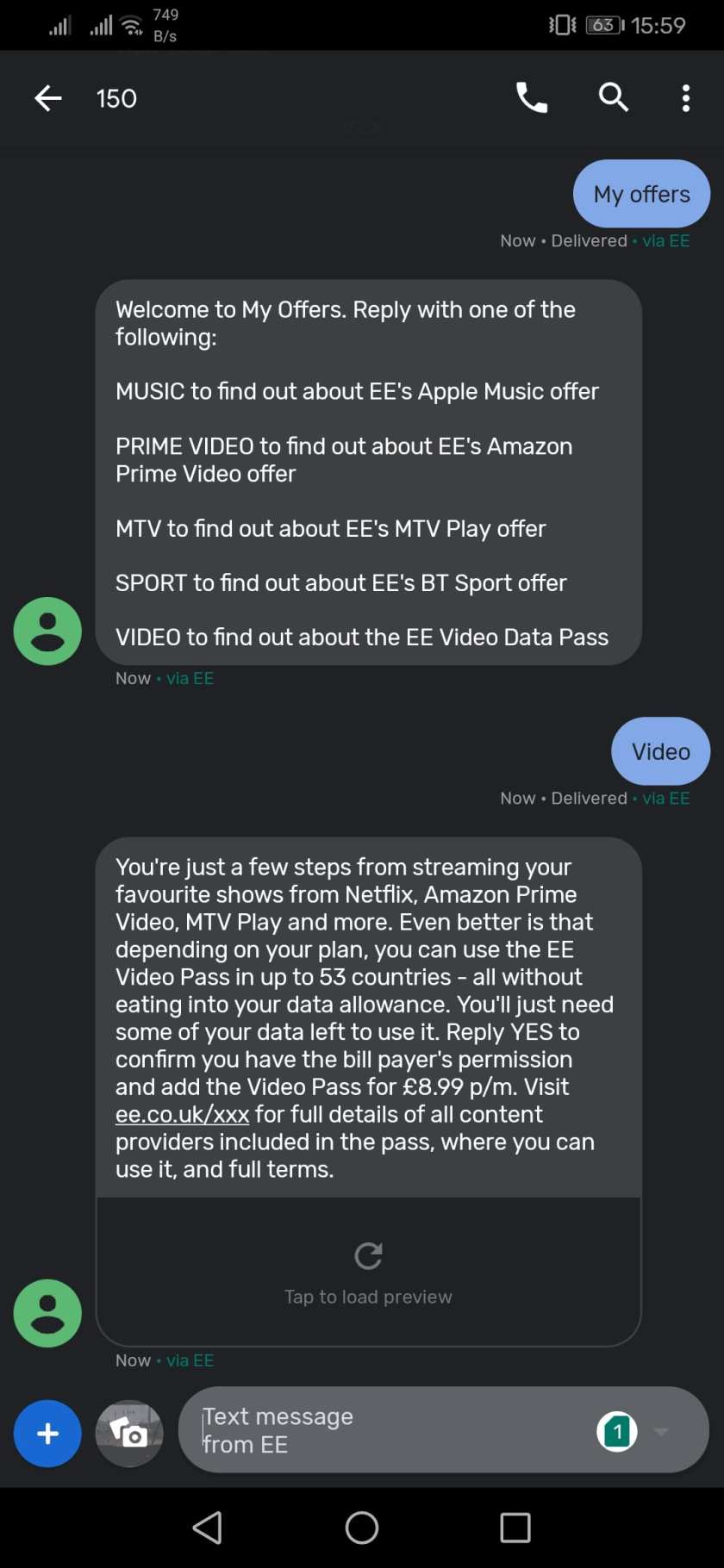EE My Offers screenshot