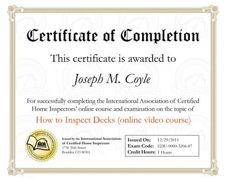 Certified Deck Inspector
