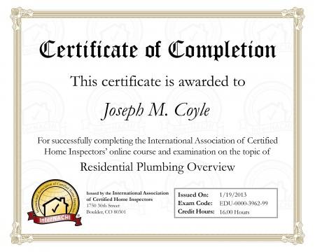 Plumbing Inspection Certificate