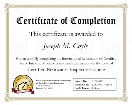Home Renovations Inspector Certification