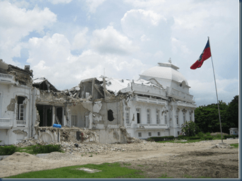 Presidential Palace in Haiti remains in ruins,  and there are no signs of demolition or reconstruction underway.