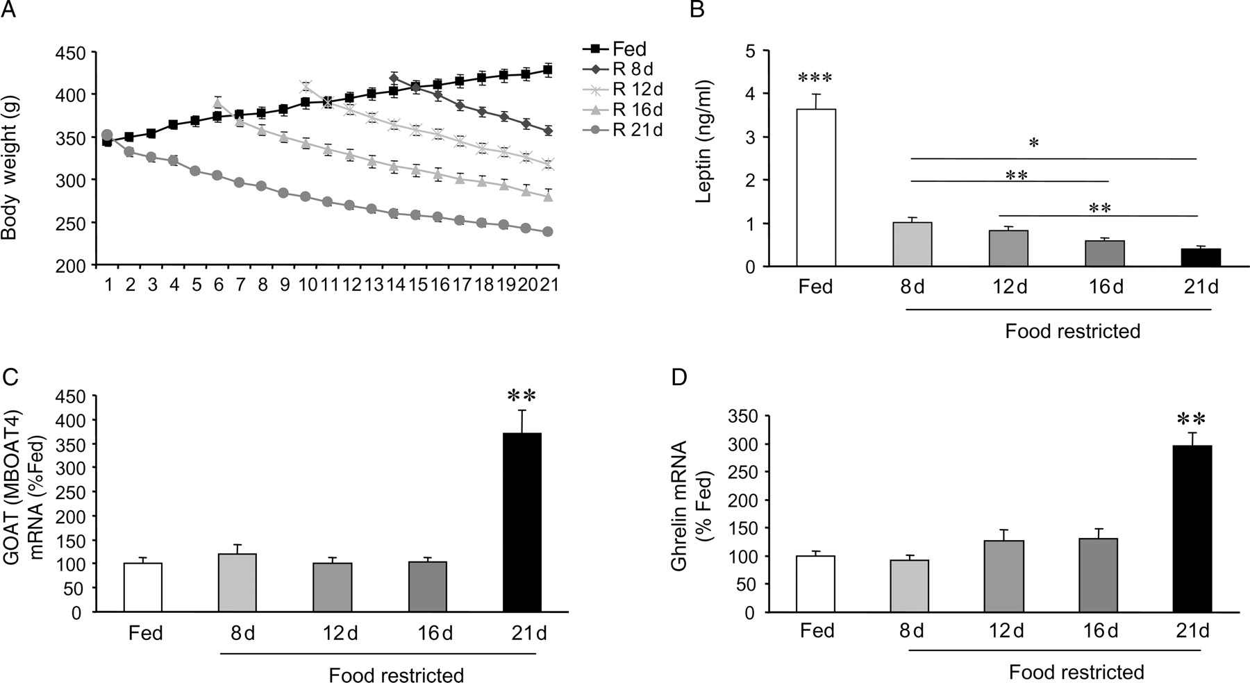 hight resolution of  a body weight b plasma leptin levels c goat and d ghrelin mrna expression in the stomach mucosa of fed and food restricted rats at the described