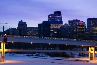 morning commute, the lrt headed into downtown Calgary across the 10 St. NW bridge