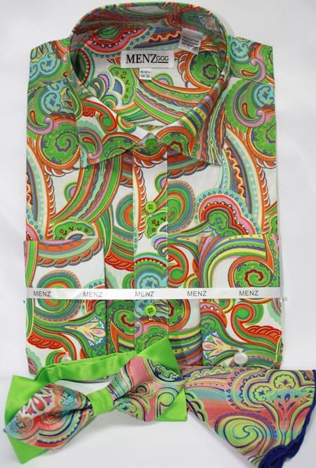 mens lime green paisley