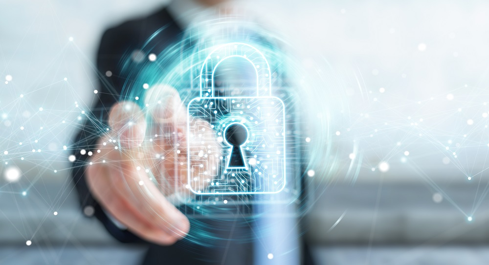 A man in a suit touching a cyber, chi, transparent blue lock made of lines tat look like a circuit board, positing the question, What is additional personal injury protection in Philadelphia and Pennsylvania?