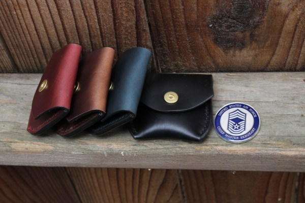 Mens leather change pouch