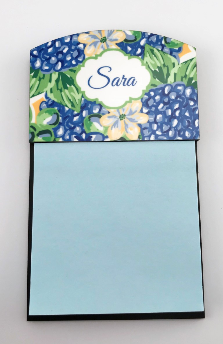 blue hydrangea post it holder