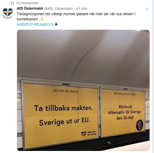 alternativ för sverige_reklam swexit tunnelbanan_eu valet 2019