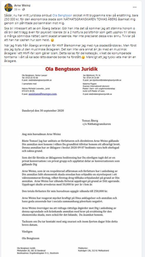 arne weinz_tomas åberg _näthatsgranskaren_åtal