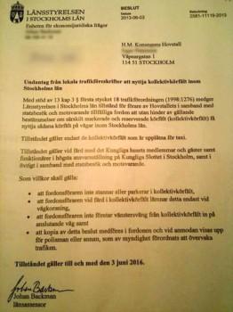 Copia del permiso oficial que permite a los vehículos de la casa real circular por el carril bús (Foto: Aftonbladet)