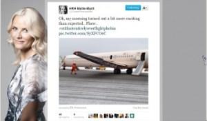 La princesa Mette-Marit envío un tuit tras el incidente con la foto del avión siniestrado. (Foto: captura de Twitter)