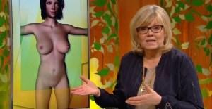 Suzanne Axell de «Fråga doktorn» explicando la falta de vitamina B12 con una figura femenina que no tiene nada que ver (Foto: captura SVT) - PULSAR PARA AMPLIAR -