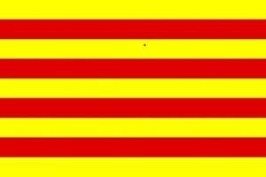 La bandera de la autonomía catalana es la misma que la de la autonomía de Aragón, de cuya Corona siempre formó parte. (Foto: Wikipedia Commons)