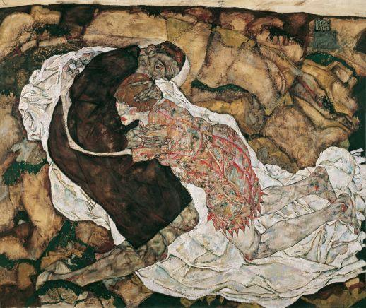 Blog 2701 Egon Schiele, La Jeune fille et la Mort, 1915.
