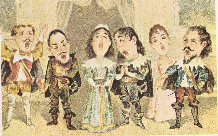 51. Caricature du sextuor de la fin du 1er acte de Lucia