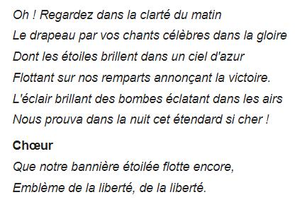Hymne américain 4 Paroles officielles en français