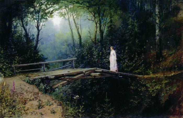 28a. Rafail Levitsky, Le Pont dans les bois (1886)