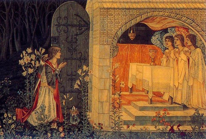35b. Sir Edward Burne-Jones,, La Vision du Graal, 1895