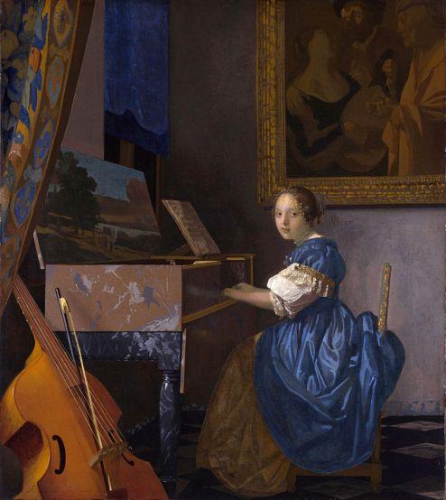 40d. Johannes Vermeer, Jeune femme jouant du virginal, 1670-72. L'un des derniers tableaux.