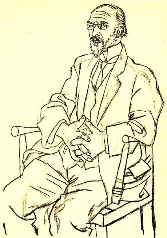 47d. Picasso, Portrait d'E. Satie, 1920