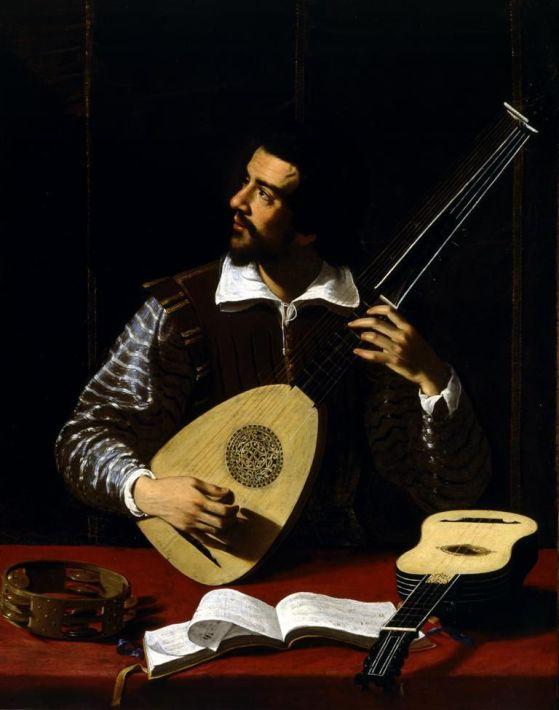 66a. Antiveduto Grammatica, Le Joueur de théorbe, vers 1615.