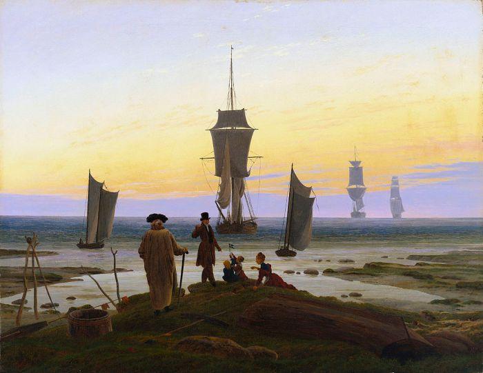 85. Caspar David Friedrich, Voiliers sur la mer, 1834.