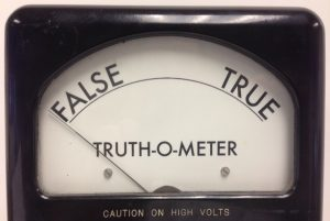Truth-o-meter reading falsehood
