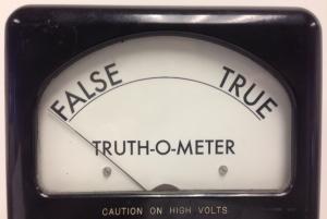 Truth-o-meter reading falsehood