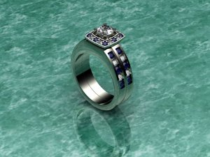 Mutli stoned Double Banded White Gold Ring