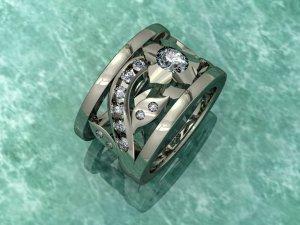 White Gold Flower Encrusted Diamond Ring