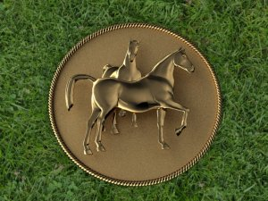 Yellow Gold Equastrian Coin Shaped Pin
