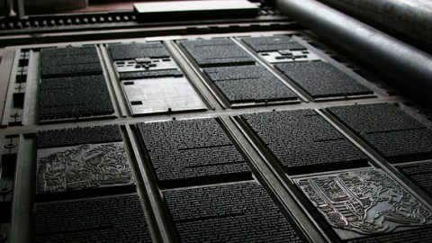 Printing plates from an old printing press. Foto by Tom Garnett. CC. 2.0