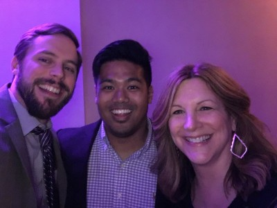 """Hanging out with our true JMUSB """"insiders"""" Michael Evangelista (who does our incredible recruiting pieces) and Carol Benassi (who has the BEST """"unnamed sources"""")"""