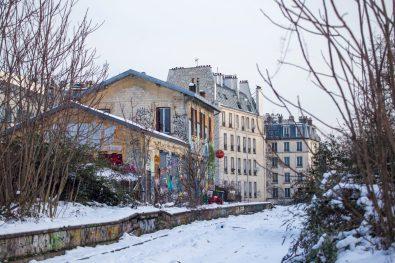 La Petite Ceinture de Paris sous la neige : la gare du Pont de Flandres