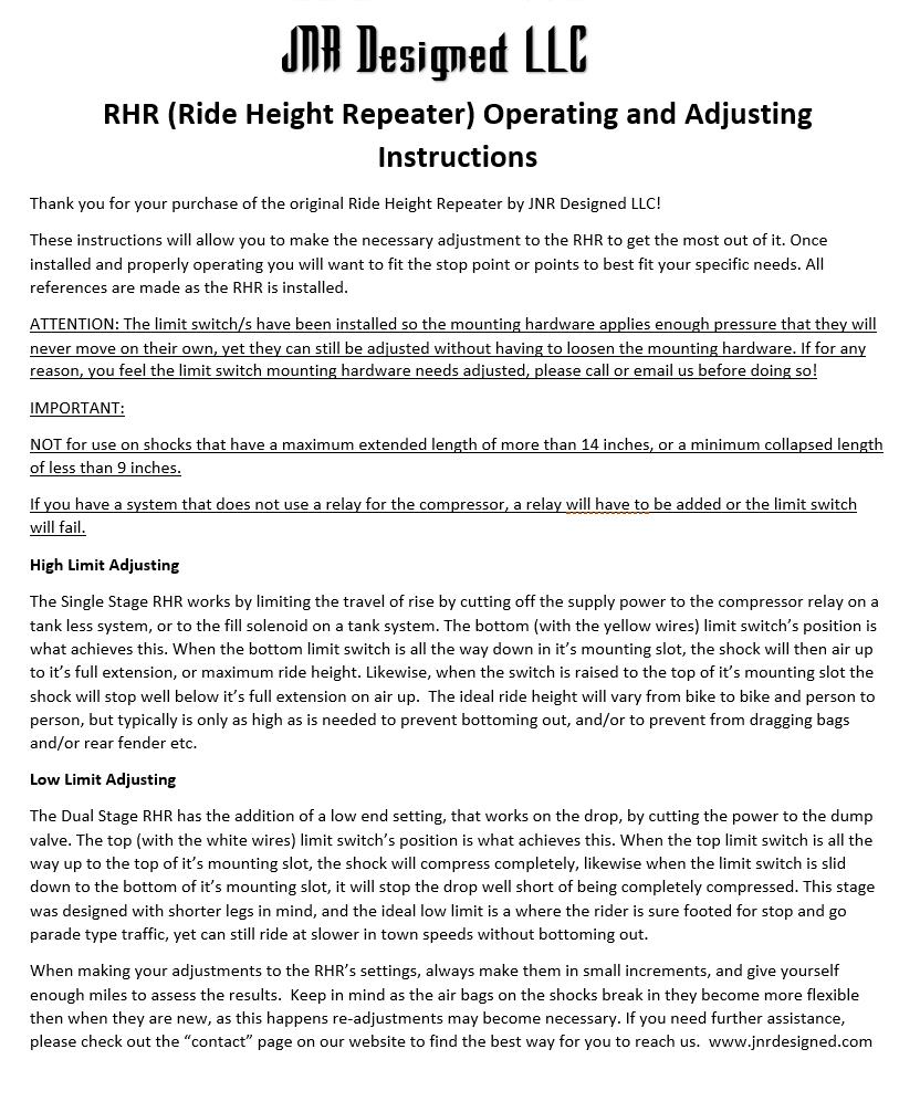 medium resolution of jnr designed ride height repeater installation instructions