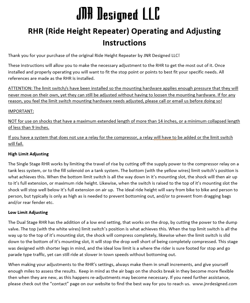 hight resolution of jnr designed ride height repeater installation instructions