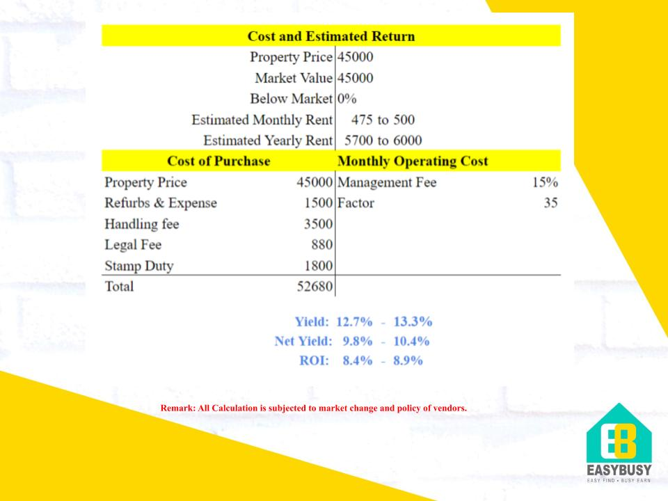 20200828-3 | Cost & Estimated Return of UK Property Investment | JiaYu