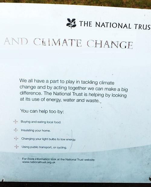 Floods, UK, National Trust Sign, Climate Change warning