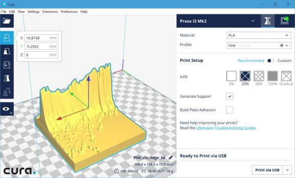 A screenshot of the STF file in Cura, ready to be printed
