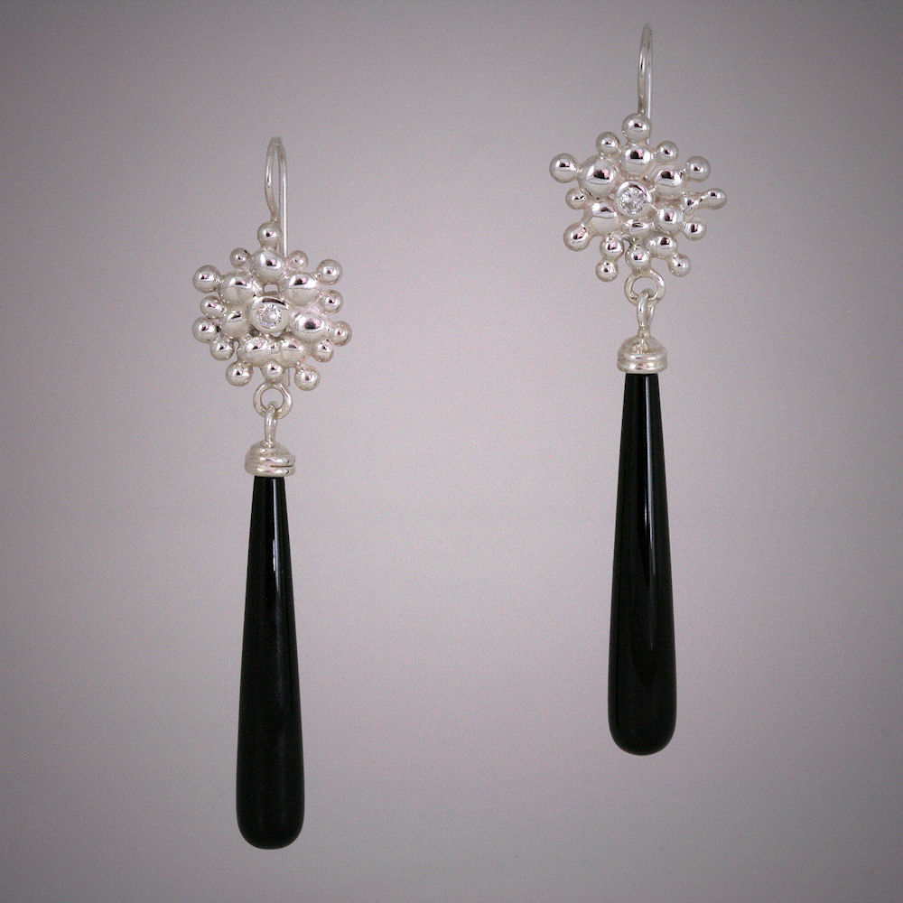 Riverstone Onyx and Moissanite Dangle Earrings for Ballet Ball