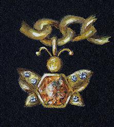Gold and spessarite garnet charm rendering detail by Joana Miranda