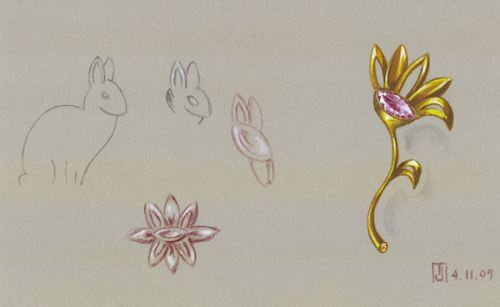 Bunny Study & Gold, Pink Sapphire and Citrine Cabochon Brooch Rendering by Joana Miranda