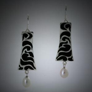Argentium Sterling, Black Resin Inlay and Pearl Drop Earrings by Joana Miranda