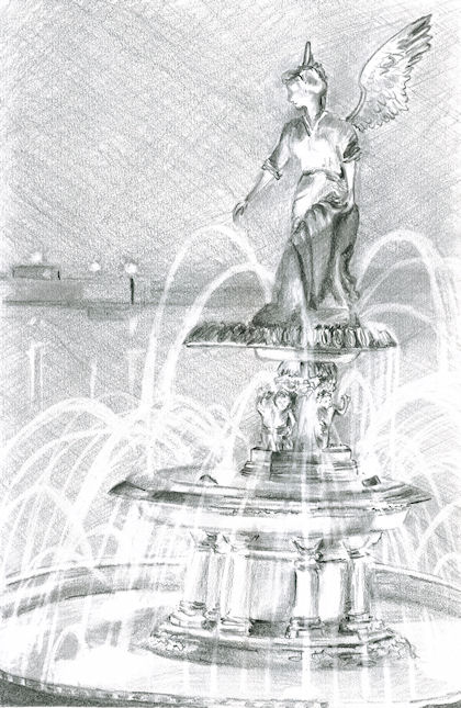 Pencil Drawing of Driehaus Family Fountain by Joana Miranda