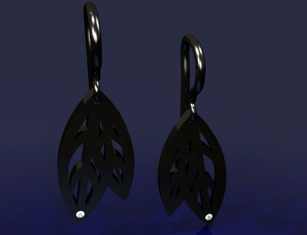 From the Shadows Collection - Preliminary CAD for Autumn Leaves Earrings by Joana Miranda