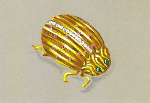 18K Yellow Gold Ladybug Brooch with Rubies, Diamonds and Cabochon Emeralds by Joana Miranda