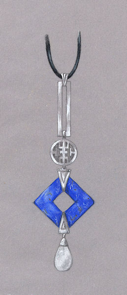 Colored Pencil and Gouache Lapis Pendant with Pearl Rendering by Joana Miranda